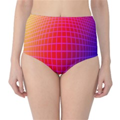 Grid Diamonds Figure Abstract High-Waist Bikini Bottoms
