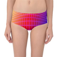Grid Diamonds Figure Abstract Mid-Waist Bikini Bottoms