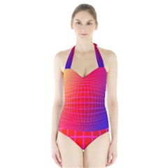 Grid Diamonds Figure Abstract Halter Swimsuit