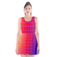 Grid Diamonds Figure Abstract Scoop Neck Skater Dress
