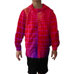 Grid Diamonds Figure Abstract Hooded Wind Breaker (Kids)