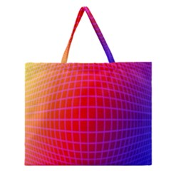 Grid Diamonds Figure Abstract Zipper Large Tote Bag