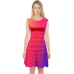 Grid Diamonds Figure Abstract Capsleeve Midi Dress