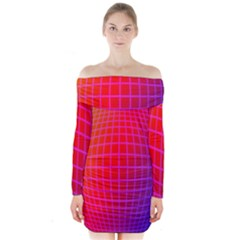 Grid Diamonds Figure Abstract Long Sleeve Off Shoulder Dress