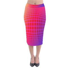 Grid Diamonds Figure Abstract Velvet Midi Pencil Skirt