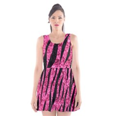 SKN3 BK-PK MARBLE (R) Scoop Neck Skater Dress
