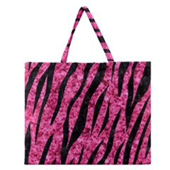 SKN3 BK-PK MARBLE (R) Zipper Large Tote Bag