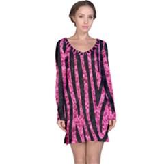 SKN4 BK-PK MARBLE Long Sleeve Nightdress