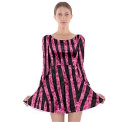 SKN4 BK-PK MARBLE Long Sleeve Skater Dress