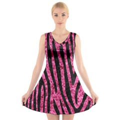 SKN4 BK-PK MARBLE V-Neck Sleeveless Skater Dress