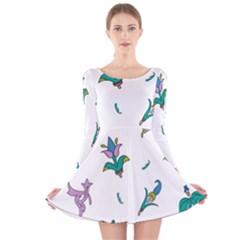 Leaf Long Sleeve Velvet Skater Dress