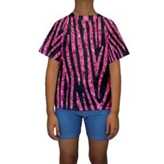 SKN4 BK-PK MARBLE (R) Kids  Short Sleeve Swimwear