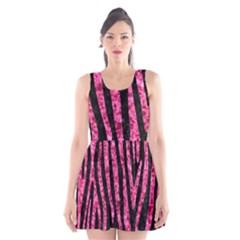 SKN4 BK-PK MARBLE (R) Scoop Neck Skater Dress