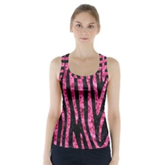Skin4 Black Marble & Pink Marble (r) Racer Back Sports Top