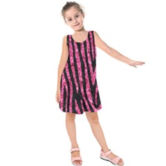 Skin4 Black Marble & Pink Marble (r) Kids  Sleeveless Dress