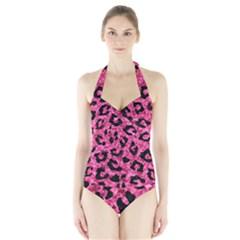 SKN5 BK-PK MARBLE Halter Swimsuit