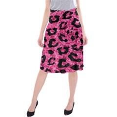 SKN5 BK-PK MARBLE Midi Beach Skirt