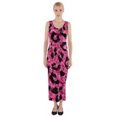 SKN5 BK-PK MARBLE Fitted Maxi Dress