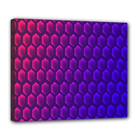Outstanding Hexagon Blue Purple Deluxe Canvas 24  x 20