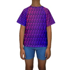 Outstanding Hexagon Blue Purple Kids  Short Sleeve Swimwear