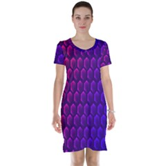 Outstanding Hexagon Blue Purple Short Sleeve Nightdress