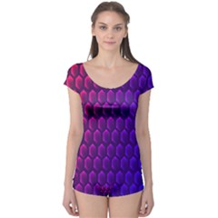 Outstanding Hexagon Blue Purple Boyleg Leotard