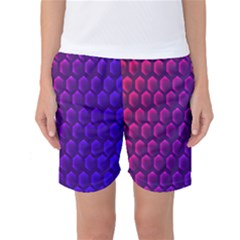 Outstanding Hexagon Blue Purple Women s Basketball Shorts