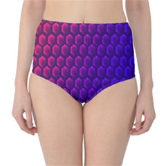 Outstanding Hexagon Blue Purple High-Waist Bikini Bottoms