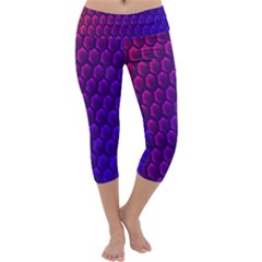 Outstanding Hexagon Blue Purple Capri Yoga Leggings
