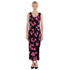 SKN5 BK-PK MARBLE (R) Fitted Maxi Dress
