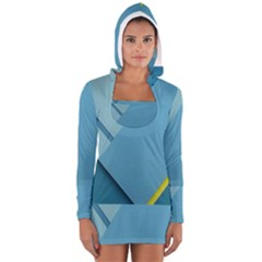 New Bok Blue Women s Long Sleeve Hooded T-shirt