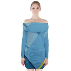 New Bok Blue Long Sleeve Off Shoulder Dress