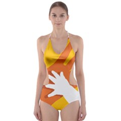 Hand Mom Soon Cute Mains Copy Cut-Out One Piece Swimsuit
