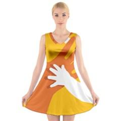 Hand Mom Soon Cute Mains Copy V-Neck Sleeveless Skater Dress