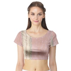 Guestbook Background Victorian Short Sleeve Crop Top (Tight Fit)