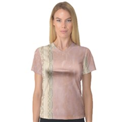 Guestbook Background Victorian Women s V-Neck Sport Mesh Tee