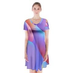 Color Orange Copy Short Sleeve V Neck Flare Dress