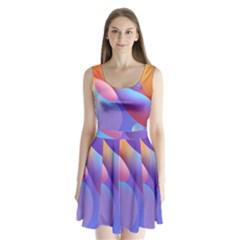 Color Orange Copy Split Back Mini Dress
