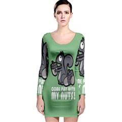 Pet Squirrel Green Nuts Long Sleeve Bodycon Dress