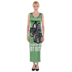 Pet Squirrel Green Nuts Fitted Maxi Dress