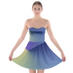Purple Yellow Strapless Bra Top Dress