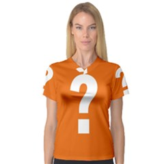 Question Mark Women s V-Neck Sport Mesh Tee