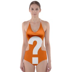 Question Mark Cut-Out One Piece Swimsuit