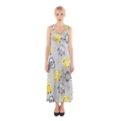 Owl Bird Yellow Animals Sleeveless Maxi Dress