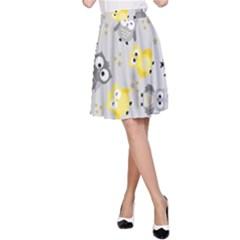 Owl Bird Yellow Animals A-Line Skirt