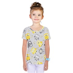 Owl Bird Yellow Animals Kids  One Piece Tee