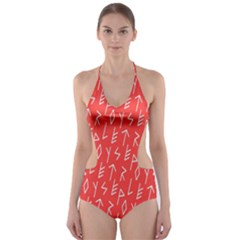 Red Alphabet Cut-Out One Piece Swimsuit