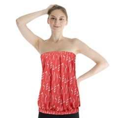 Red Alphabet Strapless Top
