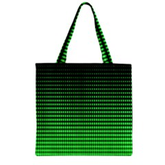 Neon Green And Black Halftone Copy Zipper Grocery Tote Bag