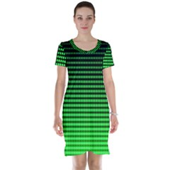 Neon Green And Black Halftone Copy Short Sleeve Nightdress